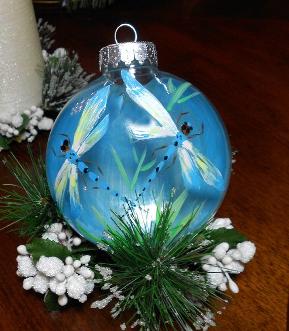 Dragonfly Ornament, Dragonfly Painting, Christmas Dragonfly, Hand Painted, Holiday Ornament  for anytime of the Year. on Etsy, $11.50
