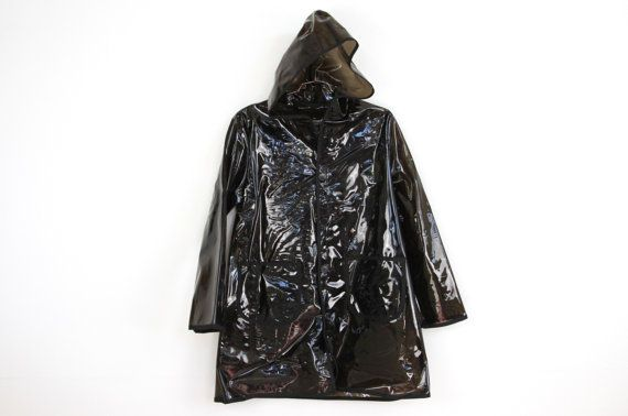 plastic p o p BLACK see through hooded raincoat . by napkinitems