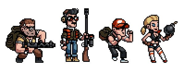 Early concept sprites for Mercenary Kings by Stephane Boutin