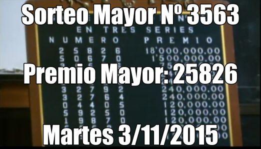 Resultados sorteo Mayor Nº 3563 del martes 3/11/15. http://wwwelcafedeoscar.blogspot.com/2015/11/resultados-sorteo-mayor-3563.html