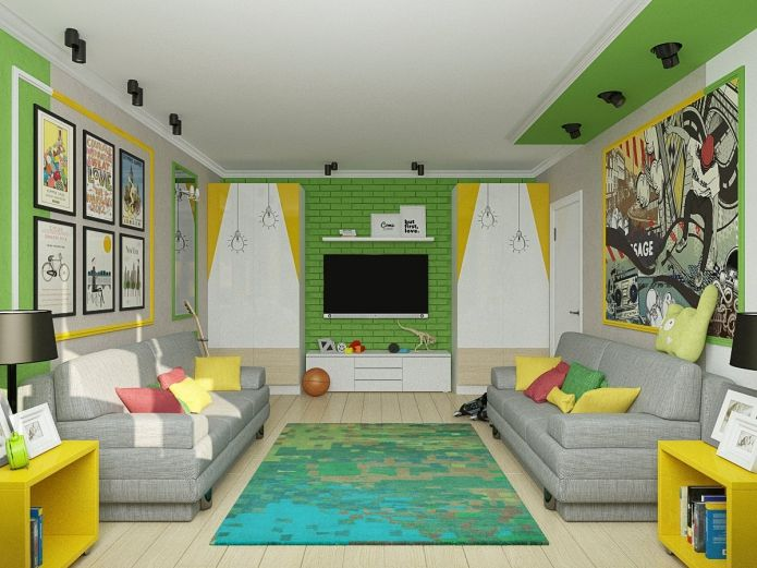 желто-зеленый интерьер детской для двоих мальчиков