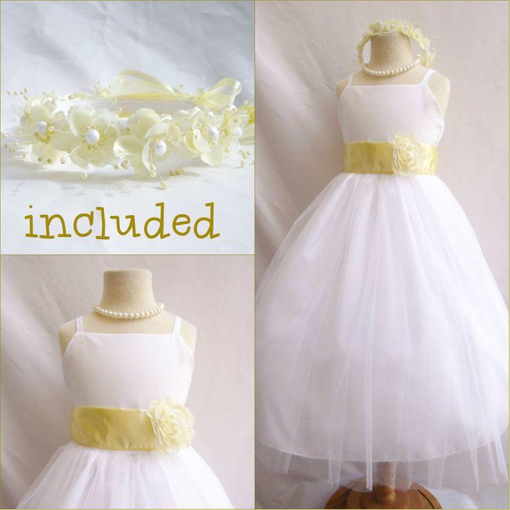 Beautiful White/Canary Light Yellow Flower Girl Dress Free Headpiece All Sizes