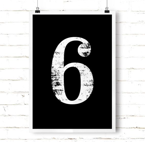 "Typography Art ""6"" Number Six Printable Poster - Numerology Vintage Number Art Decor No 6 Wall Art Digital Print *INSTANT DOWNLOAD*"