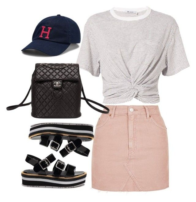 """Untitled #2056"" by adoresarah ❤ liked on Polyvore featuring Topshop, T By Alexander Wang, Chanel and Tommy Hilfiger"