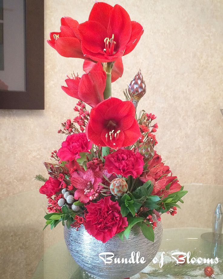 An all red festive arrangement with amaryllis, carnations, alstroemerias, wax flowers, silver brunia and more.
