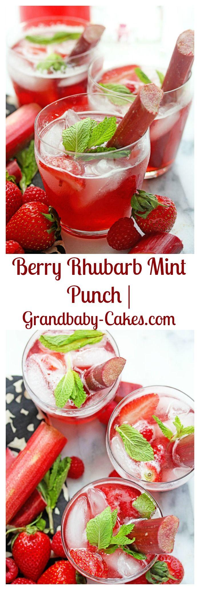 Berry Rhubarb Mint Punch | Grandbaby-Cakes.com