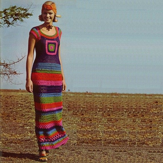 Vintage Crochet Pattern PDF 134 Granny Square Maxi Dress from WonkyZebra