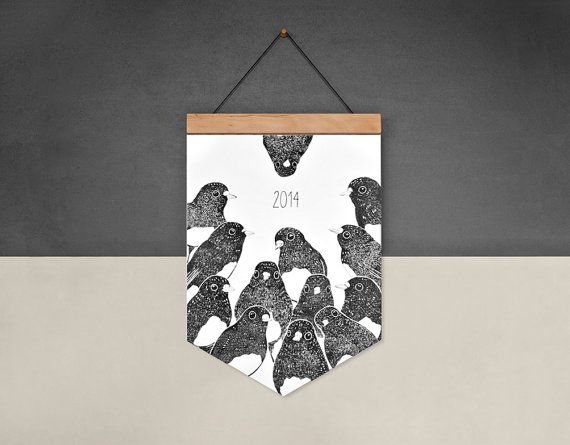 2014 Calendar - Robins - Eco-Friendly Calendar on Wooden Hanger