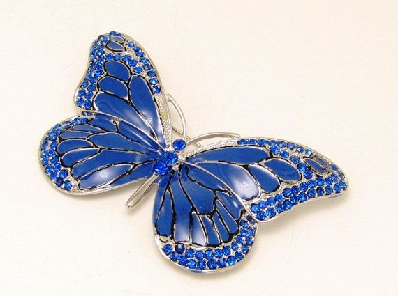 Butterfly Brooch $22 Blue Rhinestone Crystal  Insect by LiasJewelry