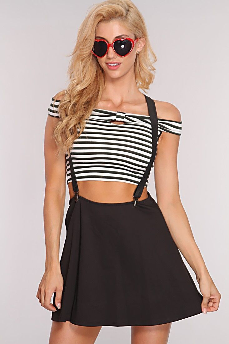 Black Suspenders Skater Skirt Outfit