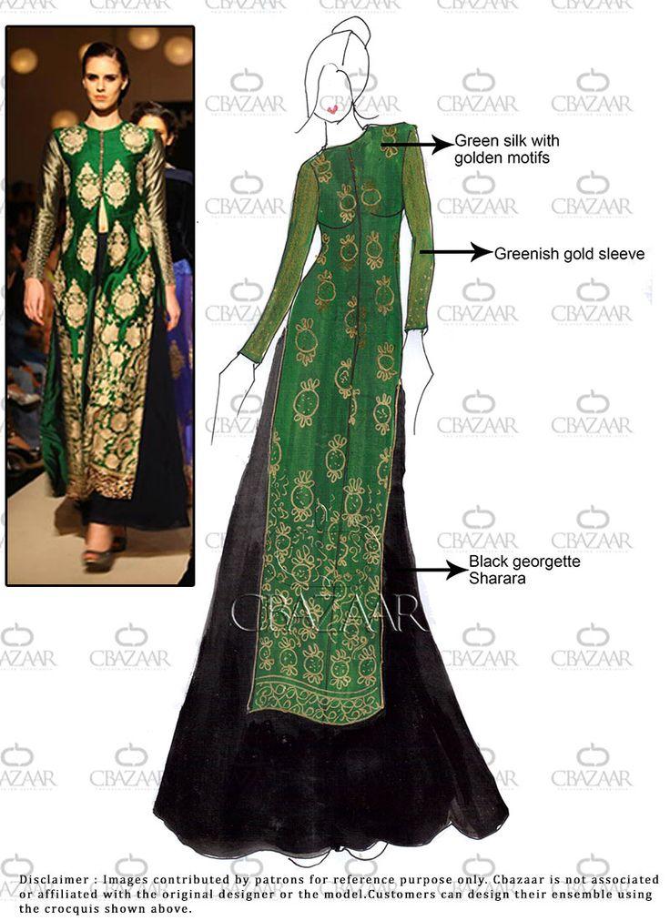 DIY #Green #Silk #Sharara Suit