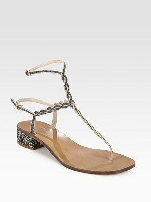 Valentino Crystal-Braided Thong Sandals