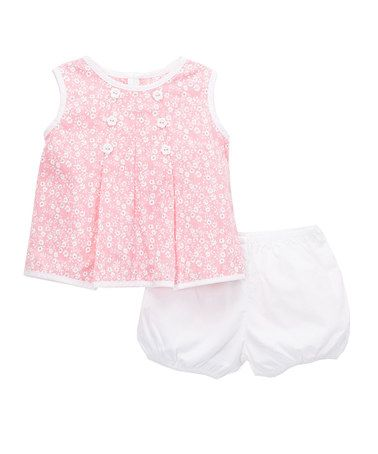 Another great find on #zulily! Pink & White Floral Tie-Back Top & Ruffle Bloomers - Infant #zulilyfinds