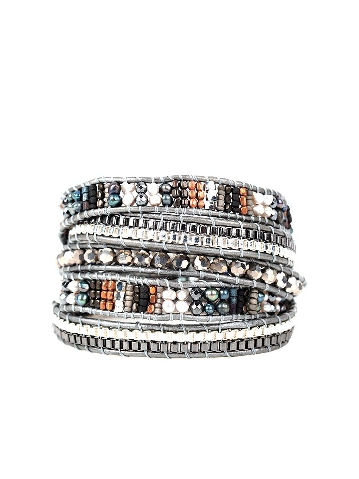 Nakamol Grey Beaded Wrap Bracelet