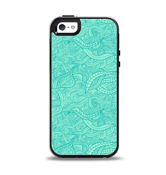 The Teal Leaf Laced Pattern Apple iPhone 5-5s Otterbox Symmetry Case Skin Set