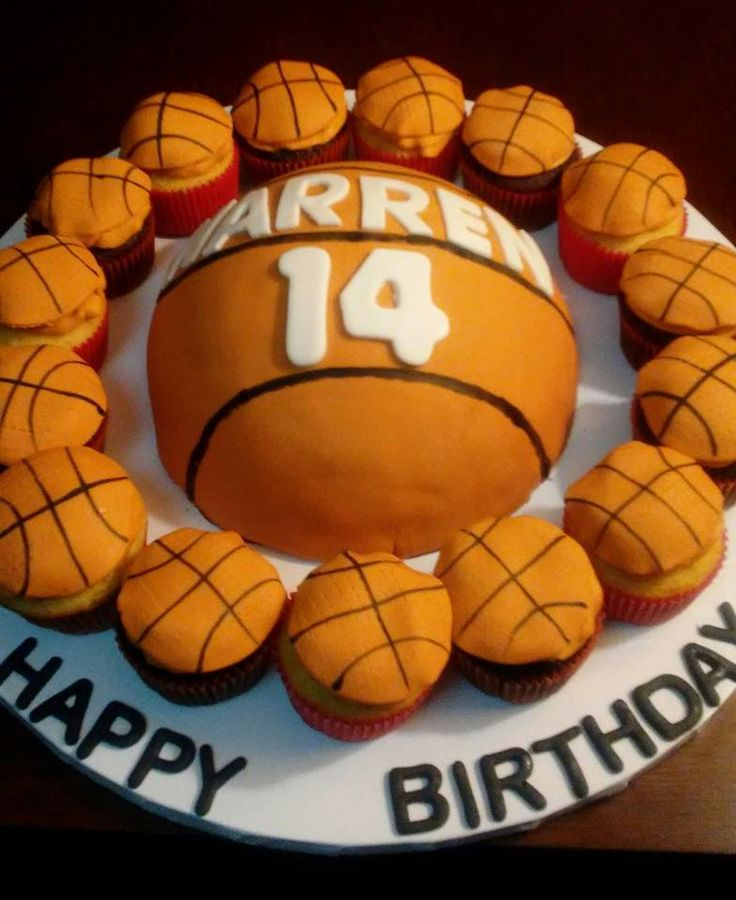 Basket Ball Cake. Chocolate Sponge Cake w/Chocolate Buttercream Filling & Frosting, Fondant. Basket Ball Cupcakes. Chocolate Sponge Cupcakes & Yellow Sponge Cupcakes w/Buttercream Frosting & Fondant Topper.