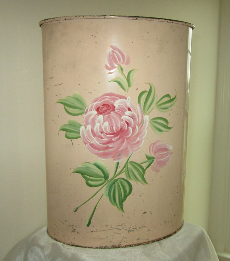 Vintage Shabby Chic Retro Metal Trash Can by Pilgrim Art, handpainted. Only $14.95 Available in my ebay store: stores.shop.ebay.com/florencesvintage THIS BEAUTY IS SOLD!