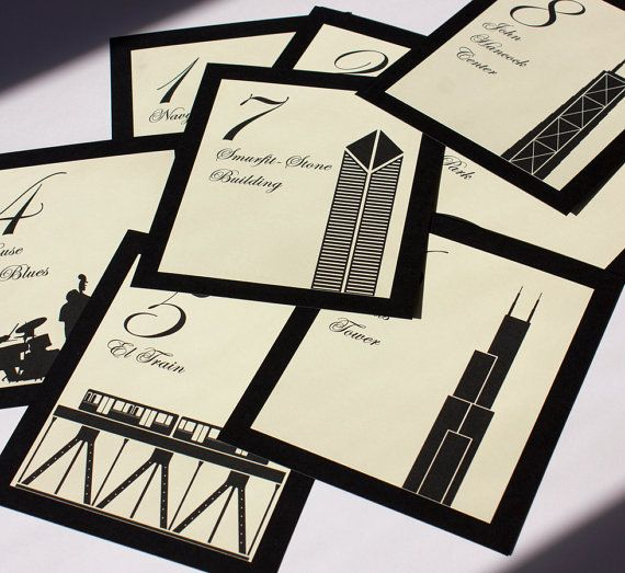 Chicago Table Numbers Wedding Decor Sign Custom Icons Landmarks Silhouette City Illinois