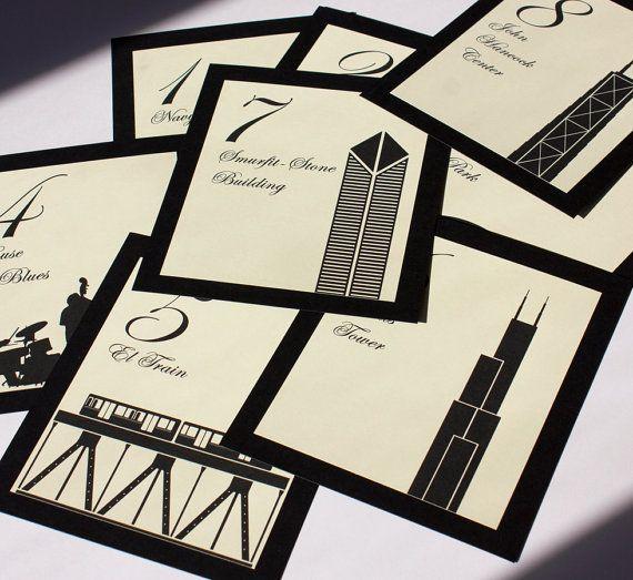 Chicago Table Numbers Wedding Decor Sign Custom Icons Landmarks Silhouette City Illinois