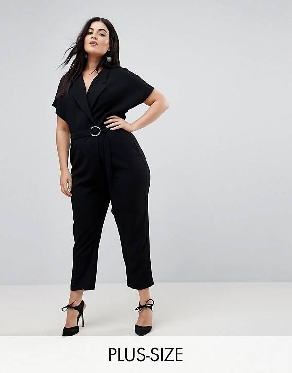 d0c53a6ad28 River Island Plus Belted Wrap Front Jumpsuit