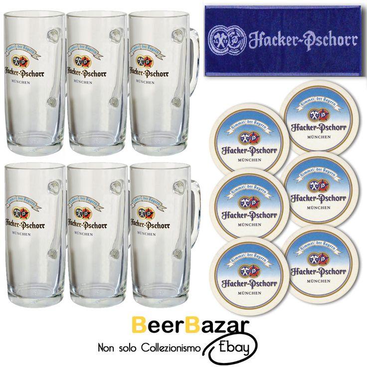 SET 6 Boccali Birra Hacker Pshorr cl.50 + tovaglietta + 6 sottobicchieri pub bar