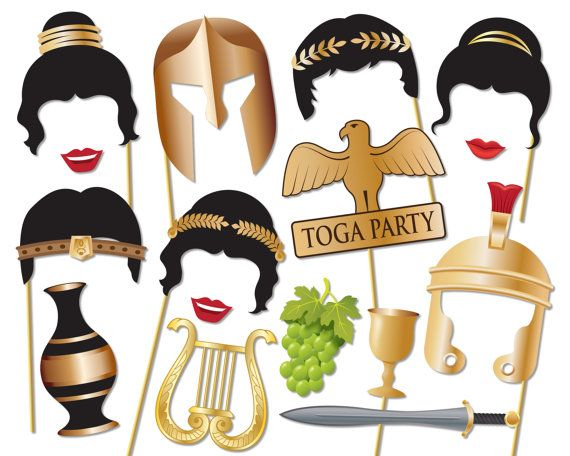 Toga Party Photo booth Props Set Game of by Instantgraffix