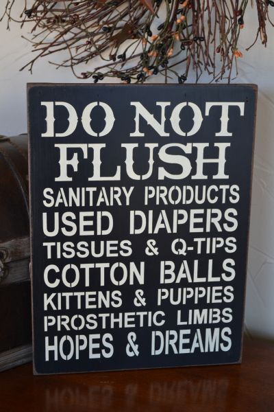 Do not flush septic system rules sign bathroom decor for Bathroom decor rules
