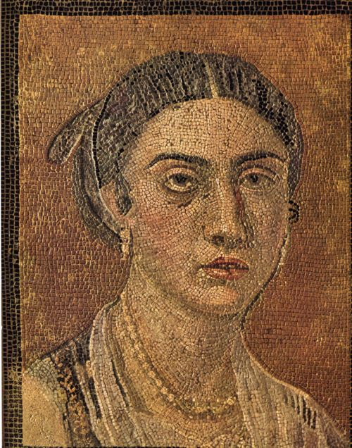 Incredibly detailed Roman portrait mosaic in the Museo di Capodimonte from the city of Pompeii. Found in the cubiculum of a house, this unique floor mosaic portrays a young woman of a rich family - probably the domina of the house, as indicated by the jewelry and the dress.: Pompeii Mosaics, Young Women, Museum, Romans Portraits, Floors Mosaics, Ancient Pompeii, Mosaics Portraits, Portraits Mosaics, Ancient Art