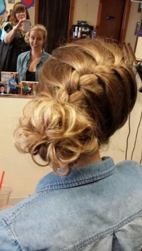 Wedding hair...messy side bun, French braid