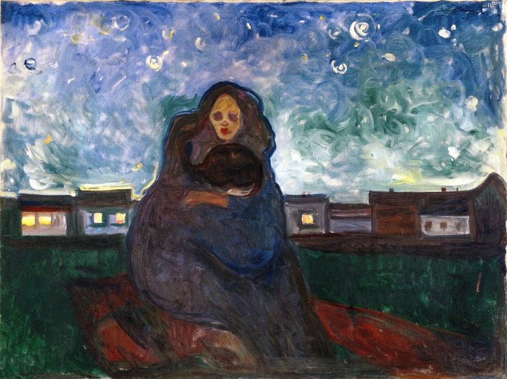 edvard munch(1863-1944), under the stars, 1900-05. oil on canvas, 90 x 120 cm. munch-museet, oslo, norway http://www.the-athenaeum.org/art/detail.php?ID=89788