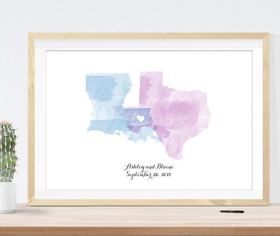 Wedding Guest Book Alternative, Watercolor Wedding Map custom You pick 2 states