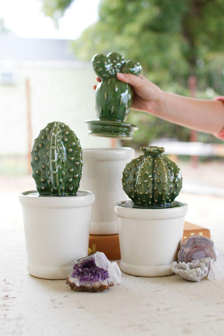 Tarros con forma de cactus para proteger lo que se te ocurra. #menajedecocina
