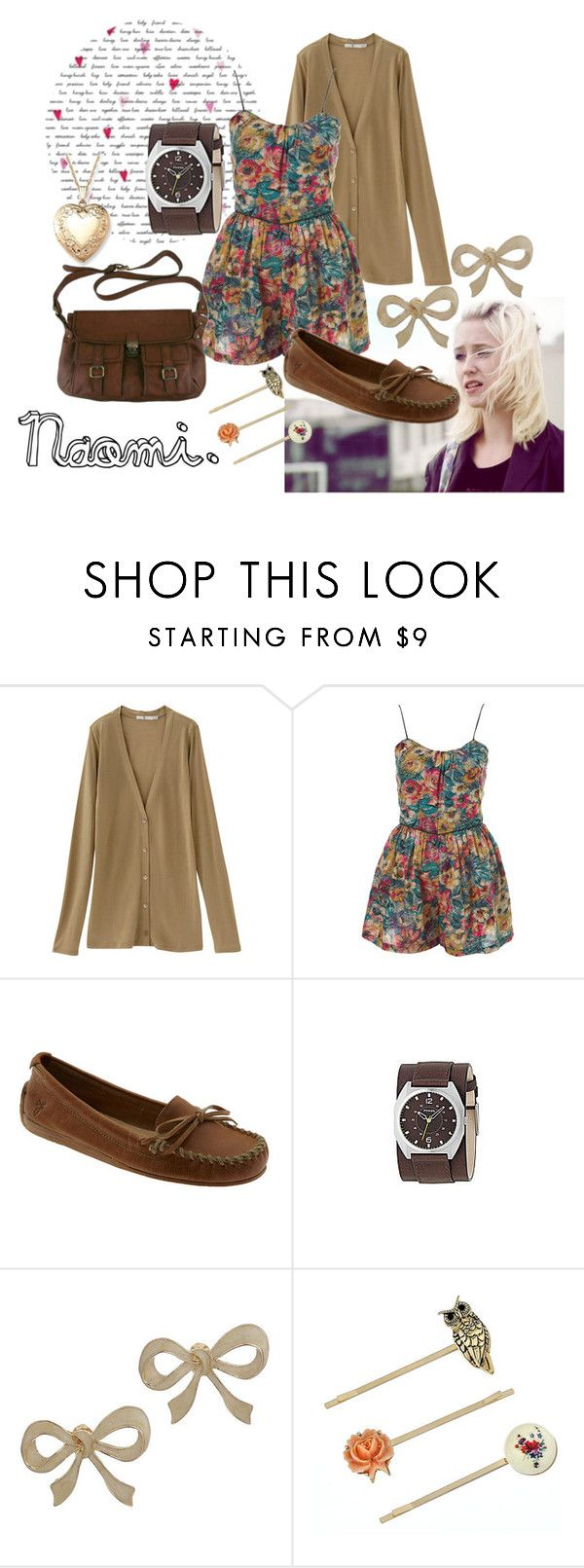"""""""Naomi"""" by whimsicalmadness ❤ liked on Polyvore featuring Uniqlo, By Emily, Topshop, Frye, Chie Mihara, FOSSIL, Miss Selfridge, playsuit, skins and brown"""