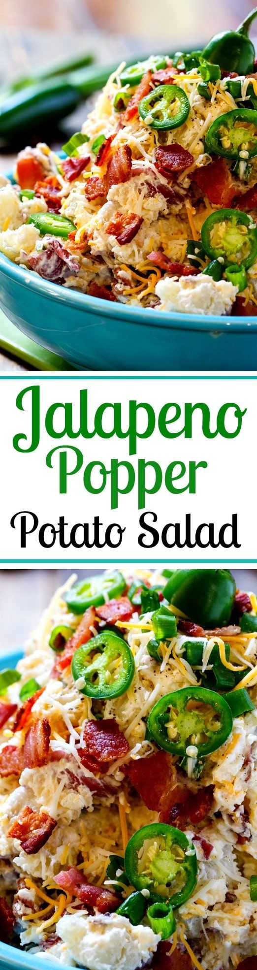 Jalapeno Popper Potato Salad flavored with cream cheese, bacon, and lots of jalapenos.