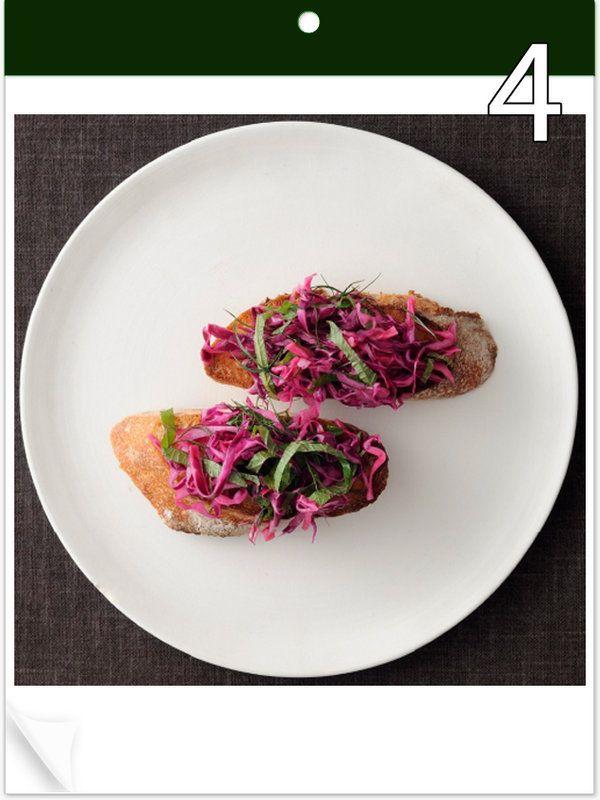 9月4日 「パープルトースト」 【使った材料】紫キャベツ、大葉、ディル、すし酢