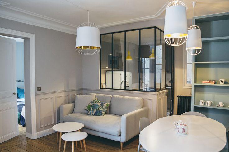 A Parigi il nuovo volto di un piccolo appartamento per i weekend. Un pied-à-terre per quattro persone arredato da Camille Hermand