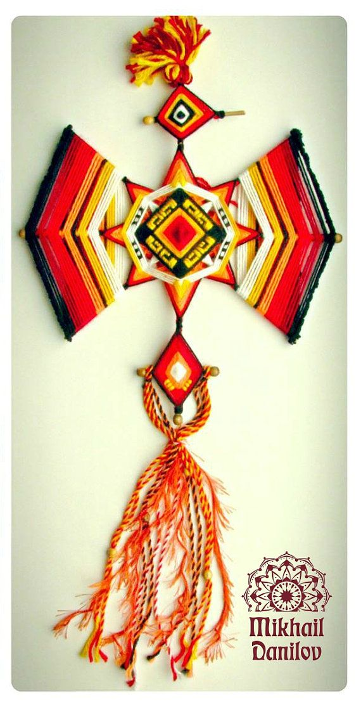 Woven mandala Fire Rooster yarn mandala by DanilovMandala on Etsy