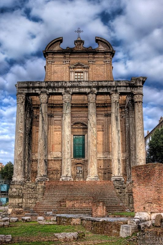 The Temple of Antoninus and Faustina, an ancient temple in Rome. Although initially dedicated to Empress Faustina, after the Emperor Antoninus Pius died, the Roman Senate rededicated the temple to the both of them.