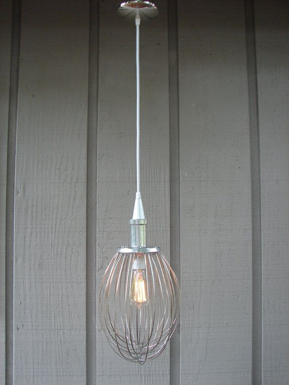 Industrial Hanging Light Upcycled Whisk By BenclifDesigns On Etsy