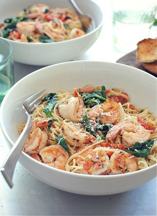 Shrimp Pasta with Tomatoes, Lemon and Spinach. Serve it ...