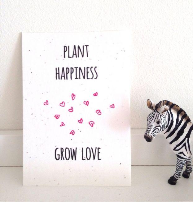 Bloemzaadjes kaart Happiness | Groeipapier | kekootje.nl