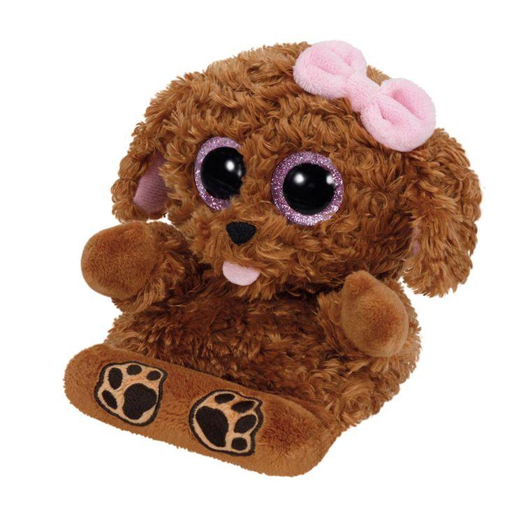 Ty Peek-a-Boo knuffel genaamd Zelda. Dit schattige hondje houdt je telefoon graag voor je vast. Zelda heeft een bruin gekruld vachtje, een roze tongetje uit haar mond en een roze glinstering in haar grote kraalogen. Klem je mobiel tussen haar pootjes en de Ty Peek-a-Boo houdt hem stevig voor je vast. Afmeting: lengte 15 cm - Ty Peek-a-Boo Hond Telefoonhouder - Zelda, 15 cm