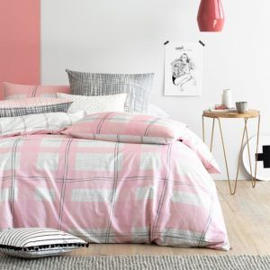 Pink and grey modern linen for the bedroom. Found it at 30% off at Miss Bettina store wide sale - Home Culture