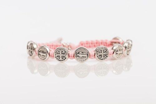 Amazon.com: Pink (Slightly Darker Than Photo) Blessing Bracelet with Silver Medals. This Bracelet Is Hand-made in Medjugorje At the Base of ...