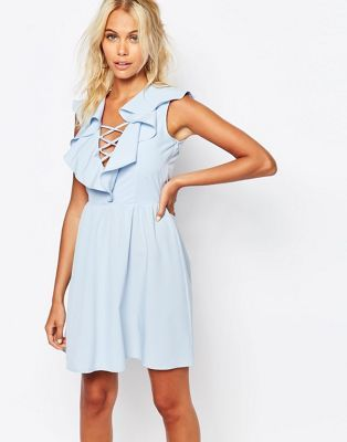 Fashion Union Dress With Ruffles & Lace Up