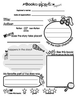MY BOOK EXPLORATION REPORT - BOOK REPORT SHEET FOR KIDS (TEMPLATE ...