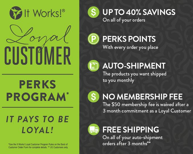 It's EASY to become a Loyal Customer with ItWorks!  Get Products at my Wholesale price of 40% off Retail.  Read Comments for more info!