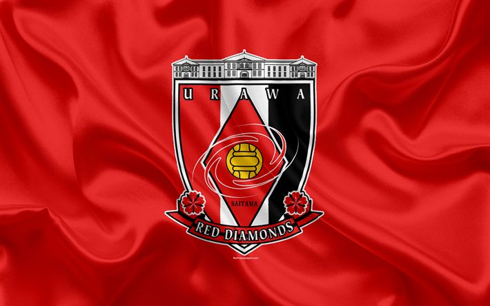 Download wallpapers Urawa Red Diamonds, 4k, Japanese football club, logo, emblem, J-League, football, Saitama, Japan, silk flag, League Division 1, Japan Football Championship