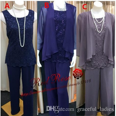 Mother Of The Bride Pant Suits Lace Chiffon Mother'S Suit With Jacket Long Sleeve Mother Of The Bride Pant Suits Dressy Pant Suits Formal Wedding Pants Suits For Women Mother's Suit From Graceful_ladies, $289.01| Dhgate.Com