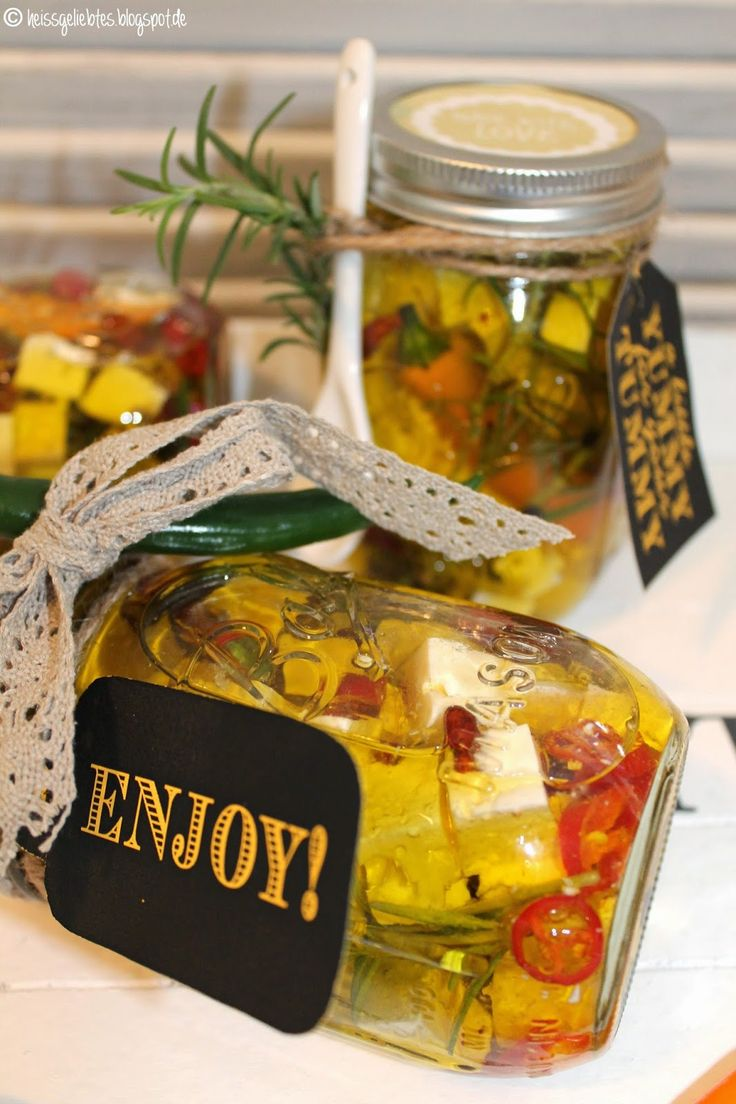 Chili Fetakäse im Mason Ball Glas DIY Cheese Peperoni spicy Geschenk Present Gift Jar Food